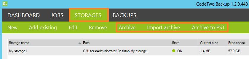 Nowe opcje w programie CodeTwo Backup dostępne w zakładce Storages