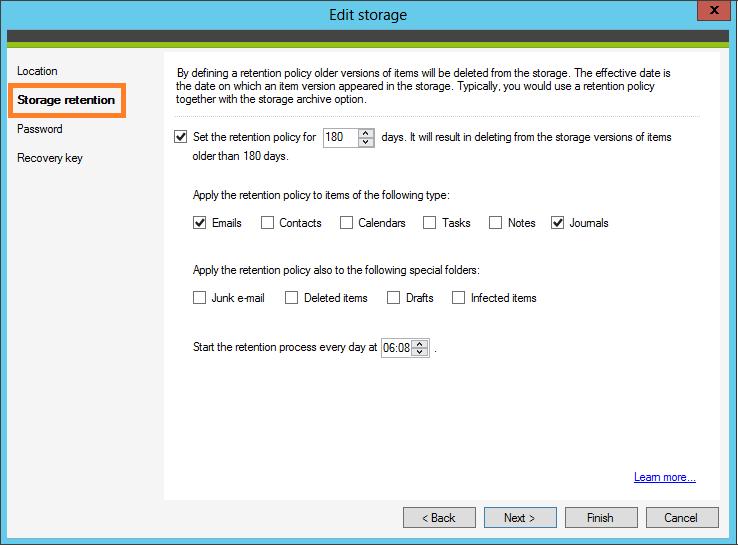 Określ zasady przechowywania elementów w kopiach zapasowych