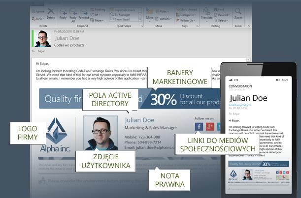 CodeTwo Exchange Rules 2016 - zarządzanie firmowymi stopkami email na Exchange 2016