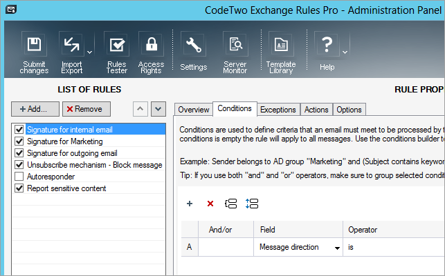 Panel administracyjny CodeTwo Exchange Rules Pro