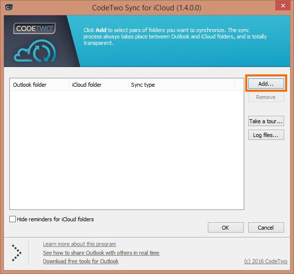 Okno ustawień CodeTwo Sync for iCloud