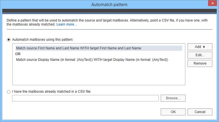 Automatyczne parowanie źródłowych skrzynek pocztowych z ich odpowiednikami na serwerze Exchange lub Office 365.
