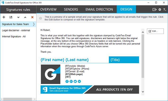Twórz podpisy email w wbudowanym edytorze CodeTwo Email Signatures for Office 365.