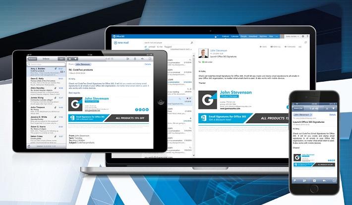 Profesjonalne podpisy email dodawane na urządzeniach mobilnych przez CodeTwo Email Signatures for Office 365.