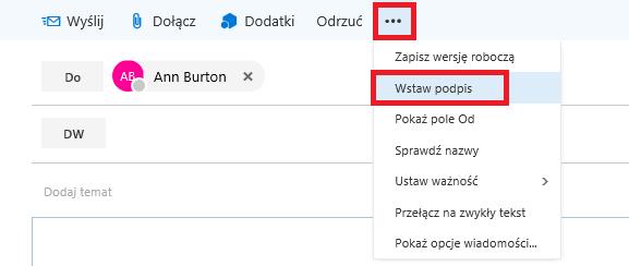 Jak ręcznie dodać podpis do wiadomości w Office 365 OWA
