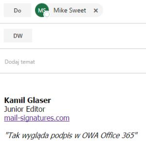 Jak dodać lub zmienić podpis w Office 365 OWA 5