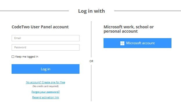 Logowanie do CodeTwo User Panel