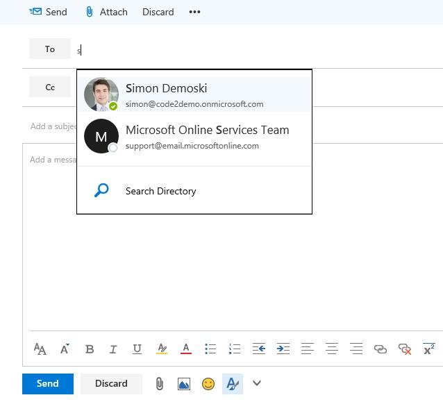 Zdjęcie użytkownika widoczne podczas pisania wiadomości email.
