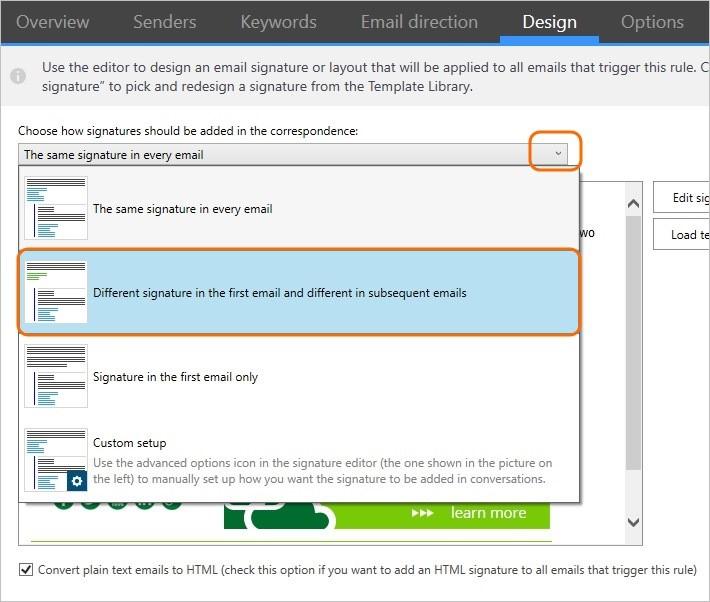 Dodaj inne podpisy email dla nowych wiadomości i inne odpowiedzi za pomocą CodeTwo Email Signatures for Office 365.