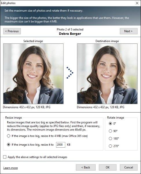 Dostosowywanie zdjęć w User Photos for Office 365.