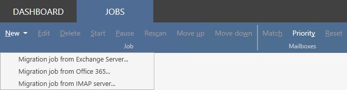 Office 365 Migration zakładka zadań migracyjnych