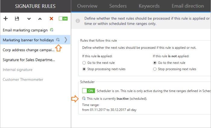 Ustawianie funkcji Scheduler dla wielu reguł osobno.