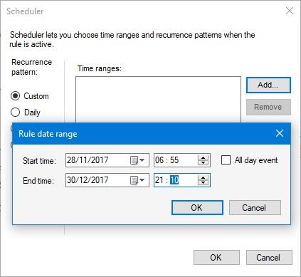 Wybieranie własnego czasu w funkcji Scheduler