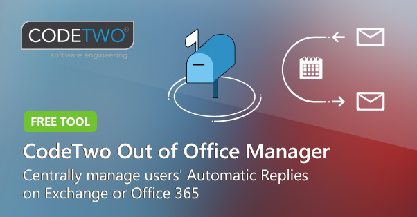 Darmowy CodeTwo Out of Office Manager