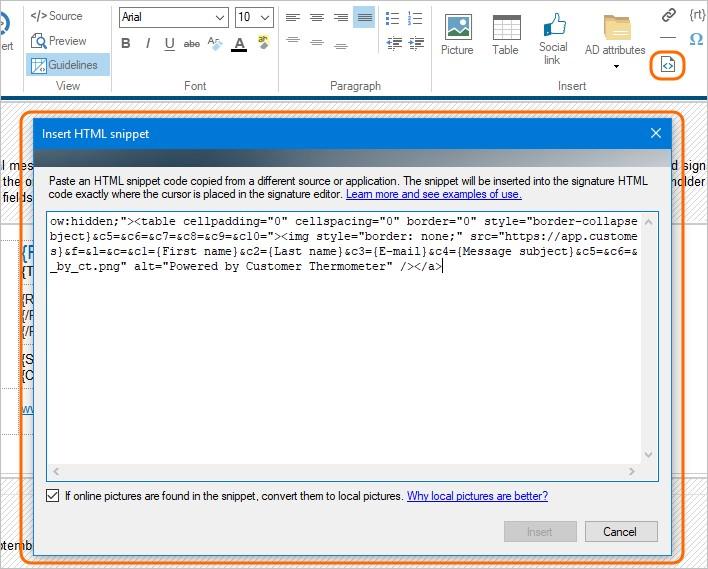 Wstaw HTML snippet do podpisu email