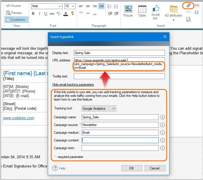 Wstaw znaczniki do linków w podpisach email
