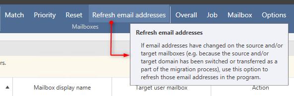 Funkcja odświeżania listy adresów email