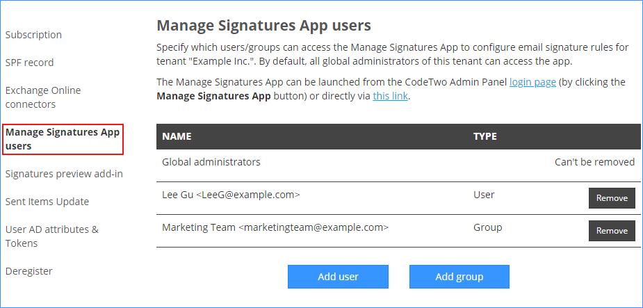 zarządzanie prawami dostępu w CodeTwo Email Signatures for Office 365