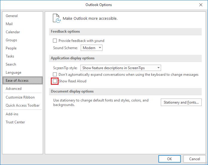 Jak wyłączyć narzędzie Czytaj na głos - Outlook