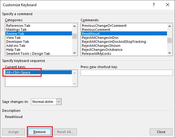 Jak wyłączyć narzędzie Czytaj na głos - Word - usuwanie skrótu klawiaturowego