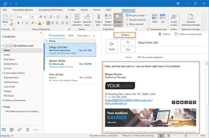 Wybór podpisu email w Outlooku