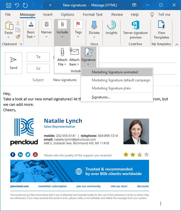 Pozwól użytkownikom wybrać podpis email w Outlooku.