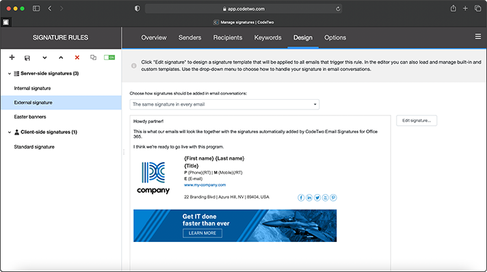CodeTwo Email Signatures for Office 365 - Manage signatures
