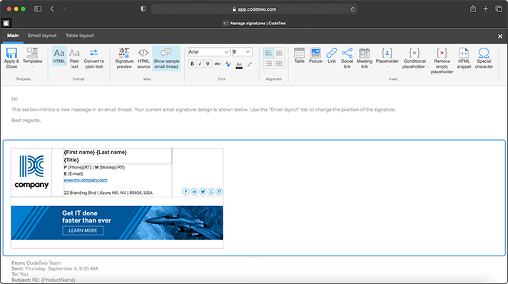CodeTwo Email Signatures for Office 365 - signature editor