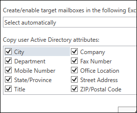 Create target mailboxes