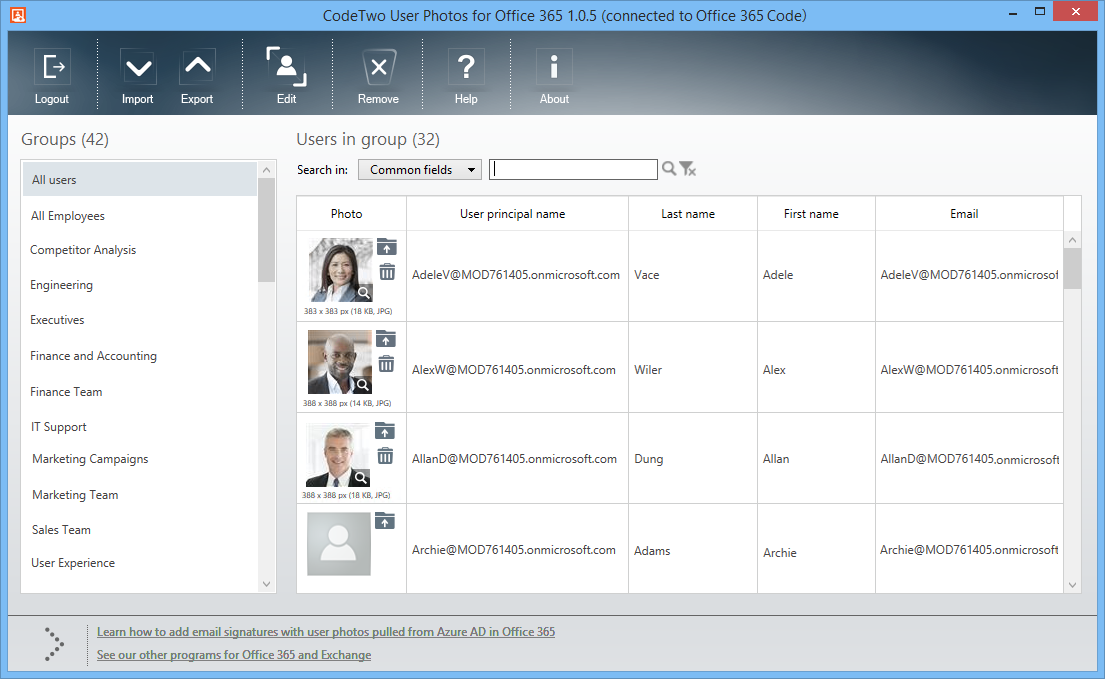 Panel administracyjny CodeTwo User Photos for Office 365
